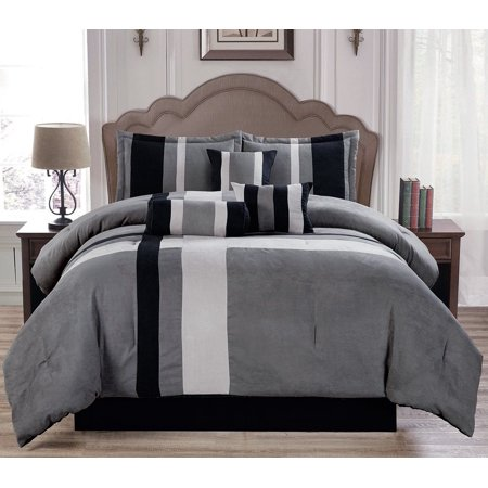 Soft Suede Gray Aberdeen 7 Piece Comforter Set - King Size
