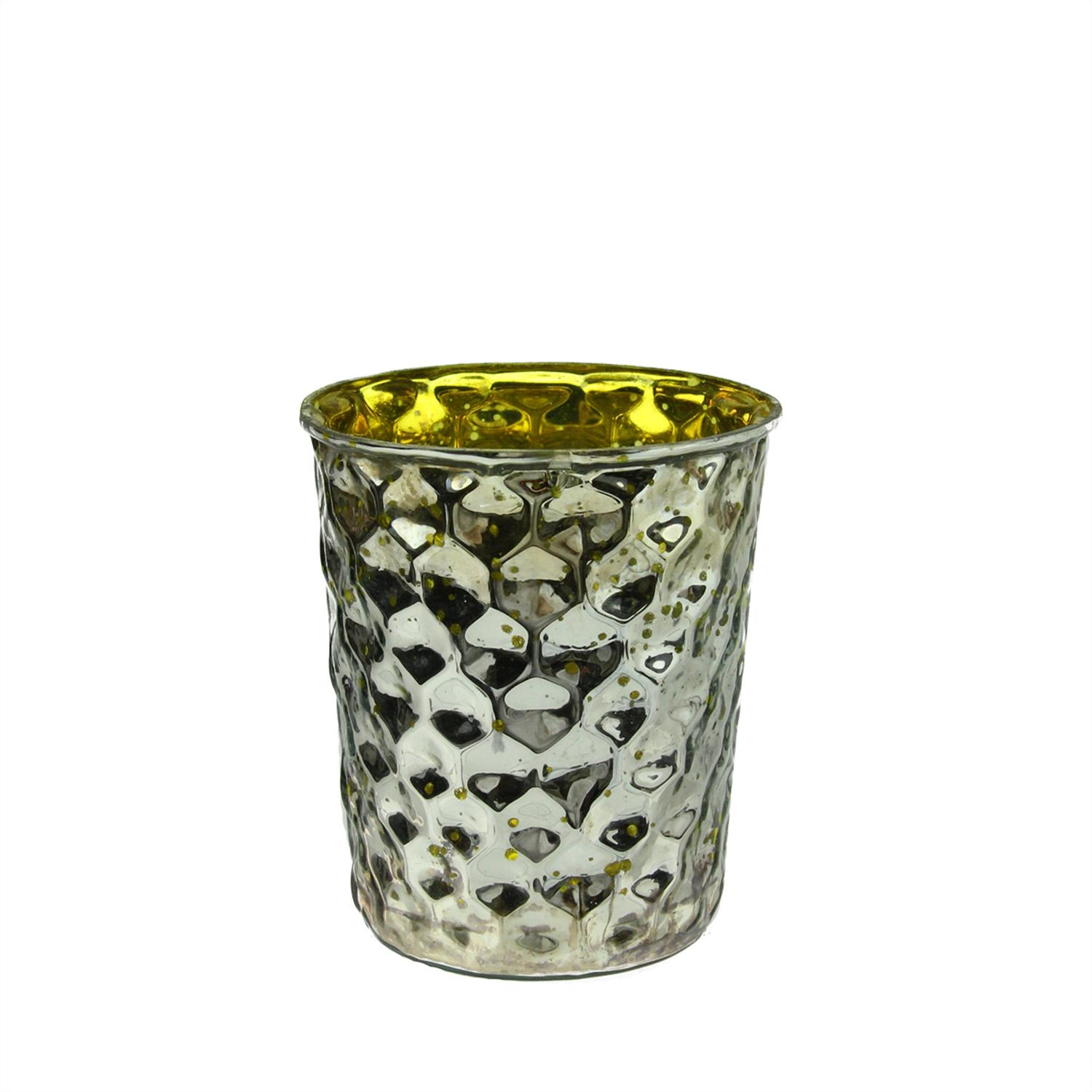 """Set of 4 Yellow and Silver Hammered Mercury Glass Decorative Votive Candle Holders 4"""""""
