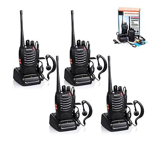 4pcs 16 Channel Walkie Talkie 5km Long Range Two-Way Radio Walkie Talkie USB Cable UHF 400-470MHz Walky Talky With Earpieces Flashlight Single Band FM Handheld Transceiver Outdoor
