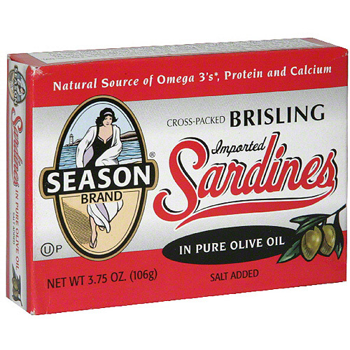 Season Sardines in Pure Olive Oil, 3.75 oz(Pack of 12)