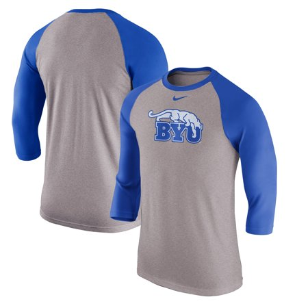 buy popular 6d0da 68c56 BYU Cougars Nike Retro Tri-Blend Three-Quarter Sleeve T-Shirt - Heathered  Gray