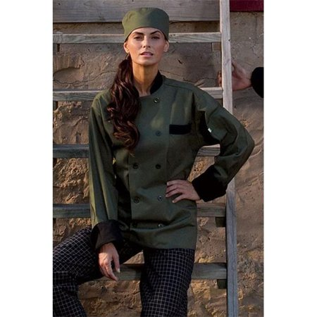 Newport Chef Coat 10 Buttons in Olive/Black Trim - Large - image 1 of 1