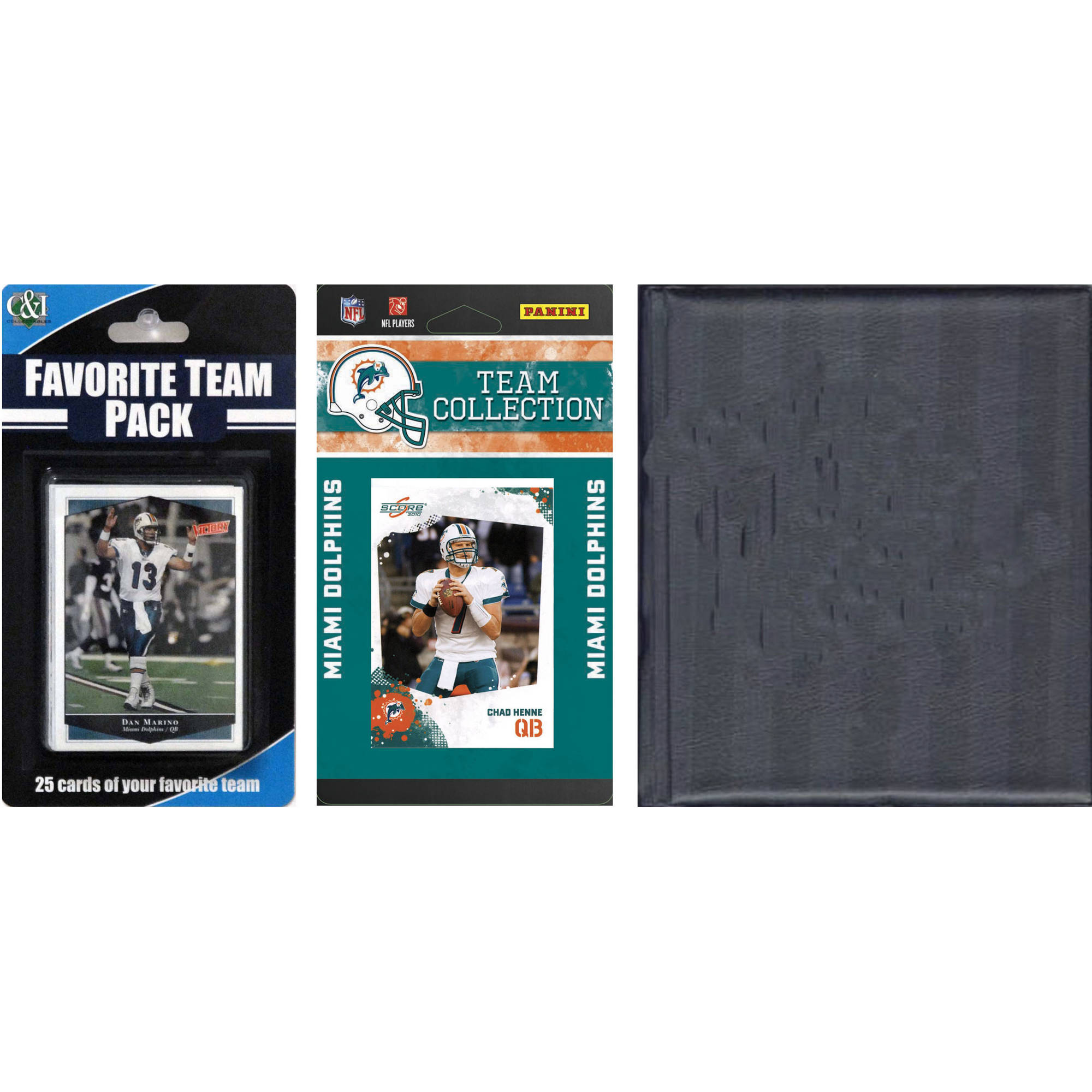 C&I Collectables NFL Miami Dolphins Licensed 2010 Score Team Set and Favorite Player Trading Card Pack Plus Storage Album