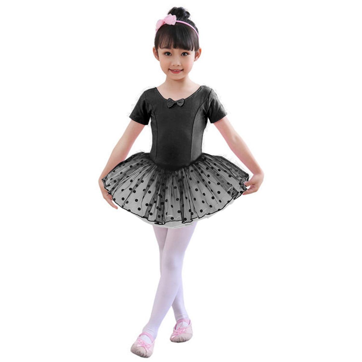 Child Girls Gymnastics Ballet Dance Wear Ballerina Dress Glitters Leotards Tutus