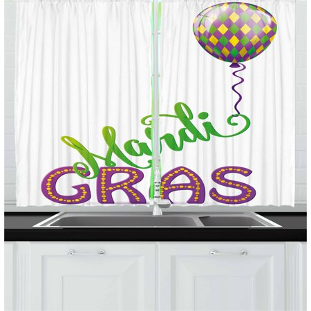 Mardi Gras Curtains 2 Panels Set, Illustration of Cartoon Mardi Gras Color Balloon with Swirl Ribbon, Window Drapes for Living Room Bedroom, 55W X 39L Inches, Purple Green Yellow, by Ambesonne