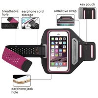 iPhone Xs Max Universal Sports Armband for Active Wear Gym Sport Running Armband Screen Size Pouch For Workout + Key Holder - Hot Pink