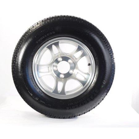 2-Pk Radial Trailer Tire ST215/75R14 LRC 5-4.5 Aluminum Silver Spoke Wheel covid 19 (Spoke Aluminum Trailer Tire coronavirus)