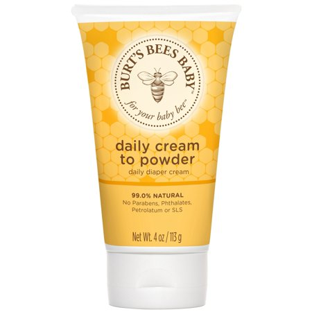 Burt's Bees Baby Daily Cream to Powder, Talc-Free Diaper Rash Cream - 4 Ounce Tube Burts Bees Baby Daily Cream to Powder goes on smooth as cream and dries quickly to a soft powdery finish. This 2-in-1 diaper cream and baby powder is designed to help absorb wetness and helps leave babys skin soft, dry and smooth. Baby care is made easy with this all in one diaper cream and talc-free baby powder. Plus its 99% natural, pediatrician-tested and no phthalates, parabens or petrolatum. Apply cream liberally as often as needed. Nurture babys skin naturally with Baby Bee from Burts Bees.