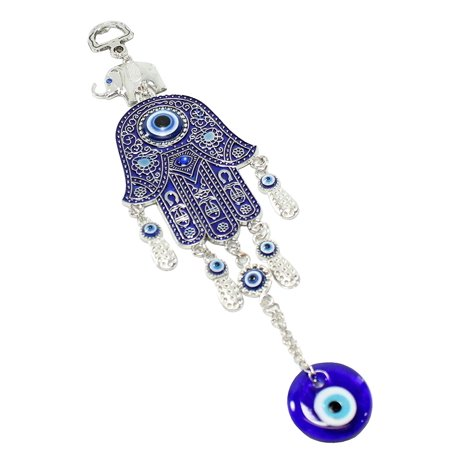 Turkish Blue Evil Eye Nazar 2 5 Hamsa Hand Elephant Amulet Wall Hanging Home