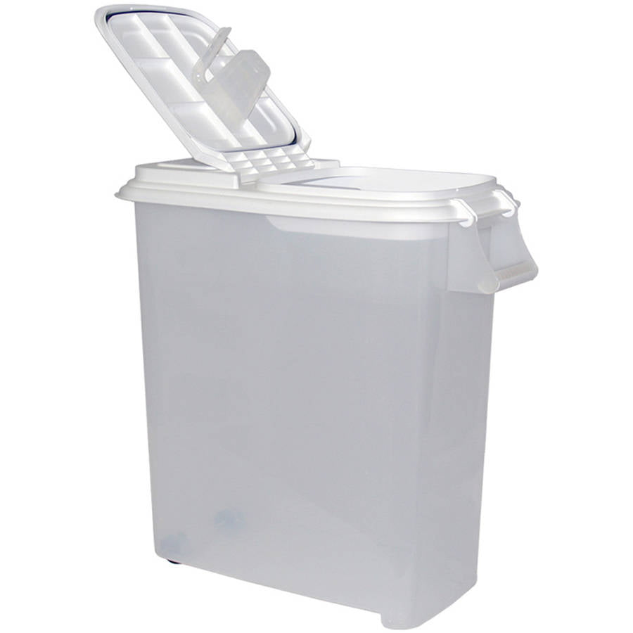 Click here to buy Buddeez 50 qt Roll Away Dispenser with Scoop by BUDDEEZ INC.