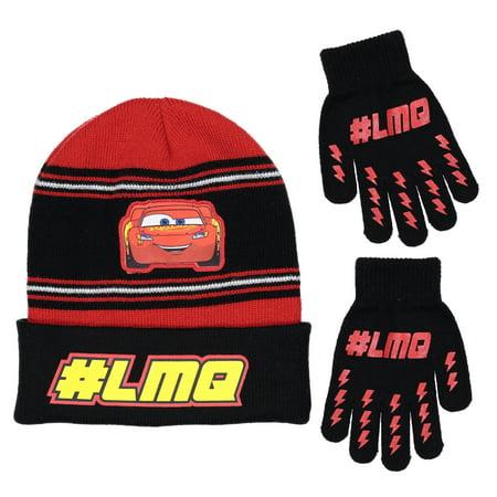 Disney Cars Lightning McQueen Boys Winter Hat Matching Glove