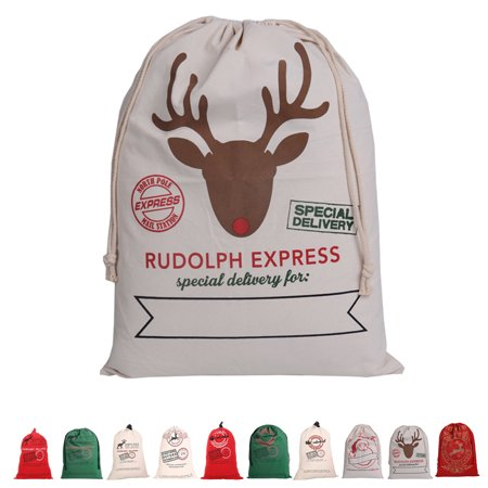 Flying Outlets Canvas Drawstring Bag Santa Claus Deer Sack Rustic Vintage Christmas Gift Bag Decoration 50 × - Gift Sack