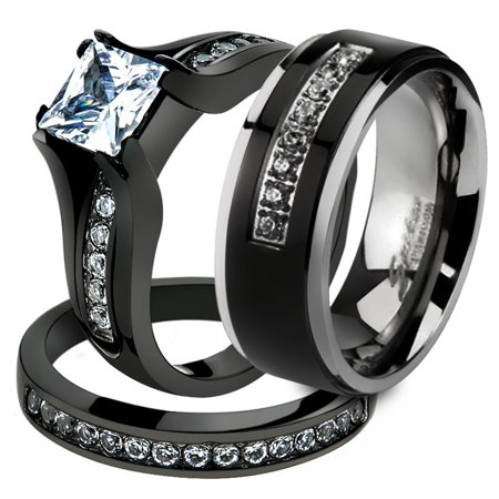 Her His 3 Pc Black Stainless Steel Engagement Wedding Ring Set Anium Band Size