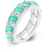 Genuine Rhodium Plated Aqua Enamel Ring with Prong Set Round Cut Clear CZ in an Eternity Style in Silvertone - Size 10