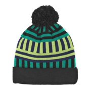 Aquarius Geormetric Green & Black Striped Beanie Pom Pom Hat Stocking Cap