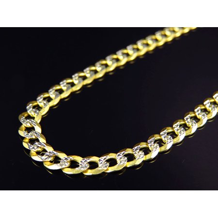 "10K Yellow Gold Solid Diamond Cut Cuban Link Chain 18-30"" (4.5MM)-28"""