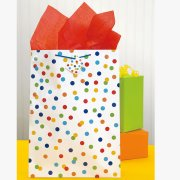 (3 Pack) Jumbo Rainbow Dot Confetti Gift Bag