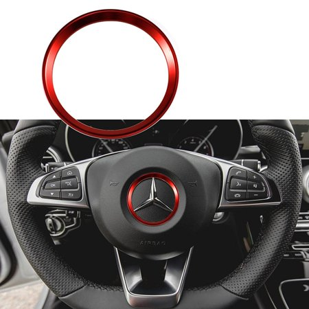 Xotic Tech 1 Piece Red Steering Wheel Center Decoration Cover Trim For 2015+ Mercedes C E CLA GLA GLC GLE Class