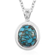 """Shop LC Matrix Chestnut Brine Western Turquoise Magnetic Clasp Pendant Necklace 925 Sterling Silver Stainless Steel Fashion Jewelry Valentines Gifts For Her Size 20"""""""