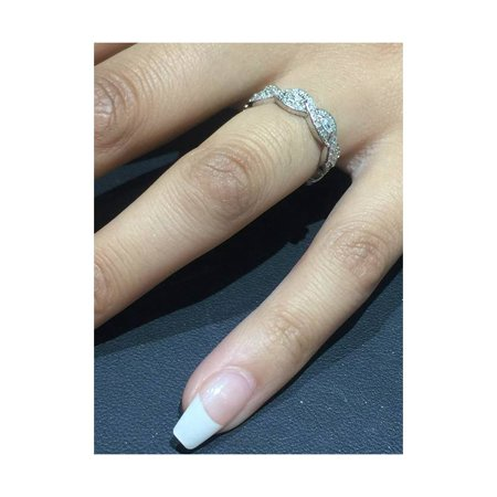 3/4ct Marquise & Diamond Stackable Infinity Eternity Wedding Ring 14K White Gold - image 1 de 4