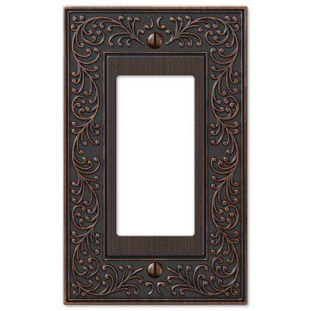 French Garden Single GFCI Decora Rocker Wall Switch Plate Outlet Cover, Oil Rubbed Bronze