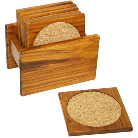Home Basics 6-Piece Coaster Set, Pine