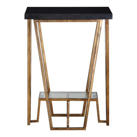 """22"""" Slab of Black Granite with Smokey Gray Glass Accent Table - Black And Gold Table"""