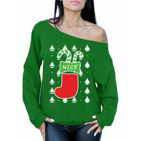Awkward Styles Nice Christmas Stocking Off The Shoulder Sweatshirt Naughty or Nice Oversized Sweater for Women Xmas Stocking Gifts for Her Women's Ugly Christmas Sweater Xmas Couple - Naughty Couple Tumblr