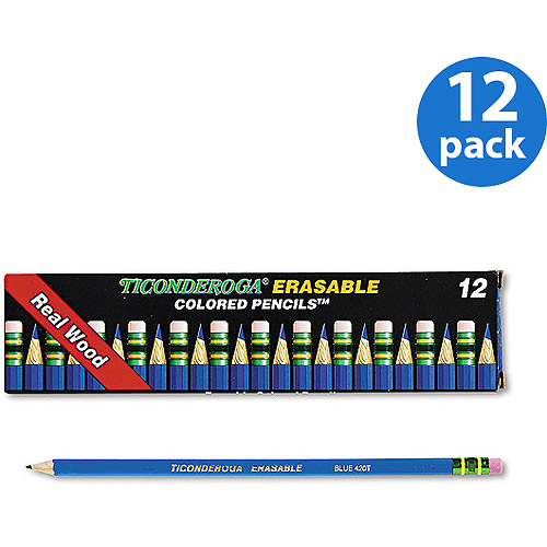 Dixon Ticonderoga Erasable Colored Pencils, 2.6mm, Blue Lead/Barrel, Dozen