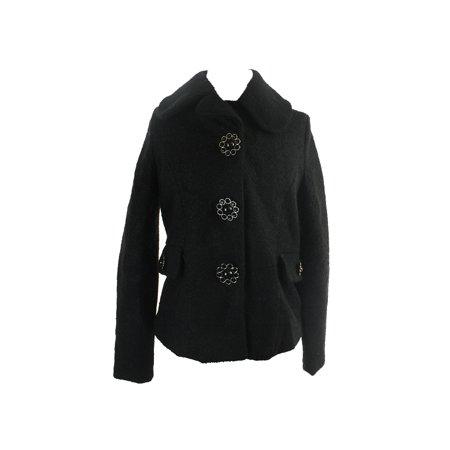jou jou  black juniors wool blend flower snap button jacket s ()