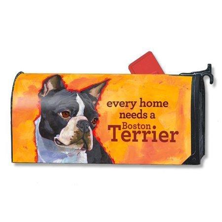 Magnet Works Mailwraps Boston Terrier Dog Original Magnetic Mailbox Wrap Cover