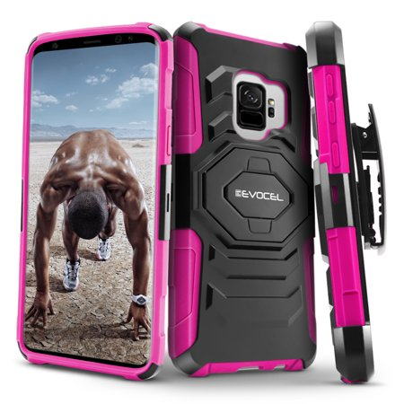 - Galaxy S9 Case, Evocel [New Generation] Rugged Holster Dual Layer Case [Kickstand] [Belt Swivel Clip] for Galaxy S9, Pink (EVO-SJO-XX05)