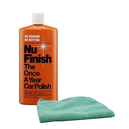 Nu Finish Once-A-Year Car Polish (16 oz) Bundle with Microfiber Cloth Kit (2 Items)