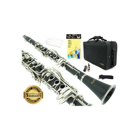 D'Luca 200 Series Black Ebonite 17 Keys Bb Clarinet with Double Barrel, Canvas Case, Cleaning Kit and 1 Year Manufacturer Warranty