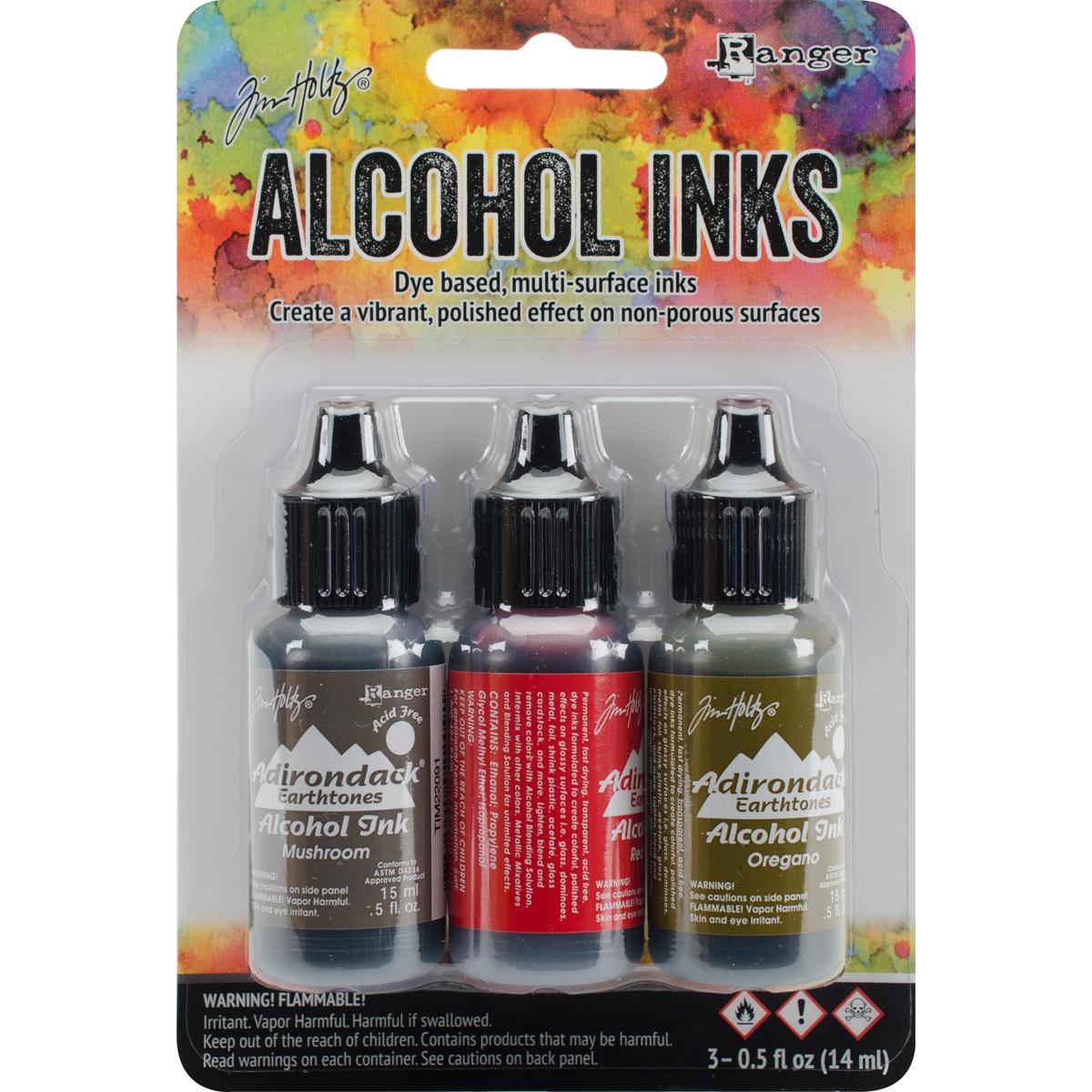 Tim Holtz Alcohol Ink .5oz 3/Pkg-Tuscan Garden-Red Peppr/Mushroom/Oregano