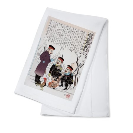 Japan Rooster (Russian Soldiers and a Rooster around a Campfire Japanese Wood-Cut Print (100% Cotton Kitchen)