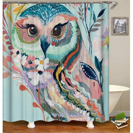 3pcs Colorful Owl Bathroom Set Non Slip Pedestal Rug Lid Toilet Cover Bath Mat Doormat Shower Curtain 12 Hooks Home Decor Gift