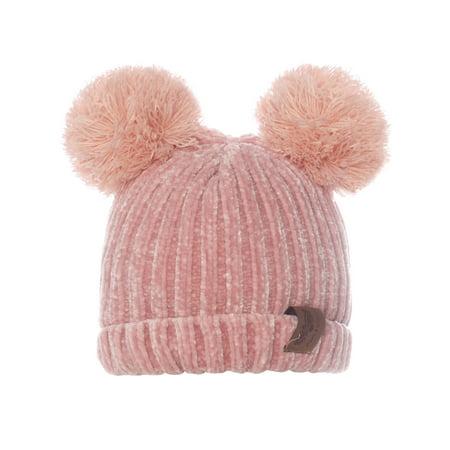 Emmalise Kid's Cute Fuzzy Animal Look Double Pom Pom Ears Beanie Winter Knit Hat - Fuzzy Panda Hat