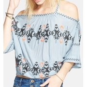 Free People NEW Dusty Aqua Women's Size Medium M Embroidered Blouse $128