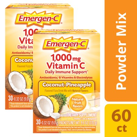 (2 Pack) Emergen-C (30 Count, Coconut Pinapple Flavor) Dietary Supplement Fizzy Drink Mix With 1000mg Vitamin C, 0.32 Ounce Packets, Caffeine - Dietary Supplement Diet