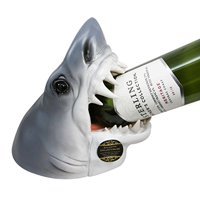 "Atlantic Collectibles Ocean Megalodon Shark 9"" Tall Wine Bottle Holder Caddy Figurine"