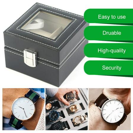 Black Plain Pattern 2 Grid PU Leather Watches Display Case Boxes Storage Box - image 2 de 10