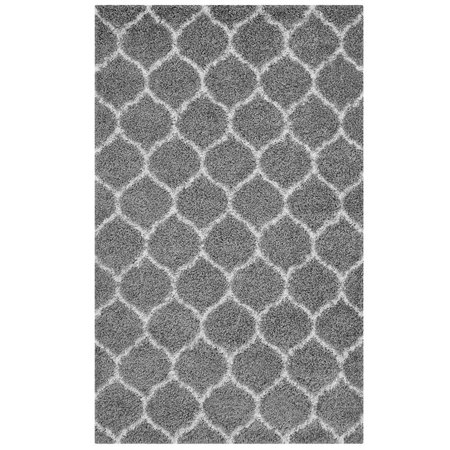 Modway Solvea Moroccan Trellis 5x8 Shag Area Rug in Gray and Ivory ()