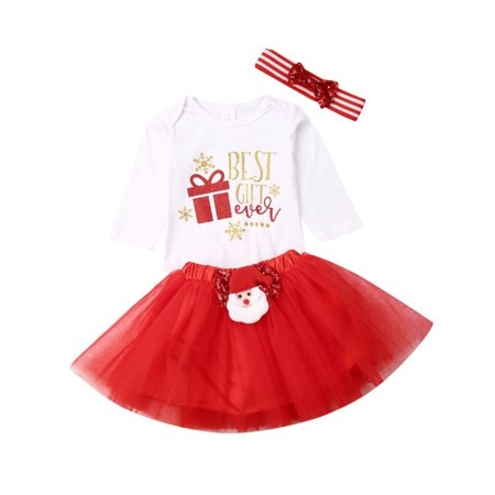 Christmas Newborn Baby Girl Outfit Best Gift Print Snowflake Long Sleeve Romper+Tutu Dress+Headband 3Pcs/Set ()
