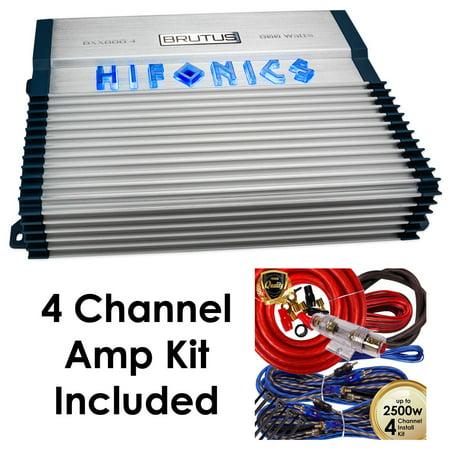 Hifonics BXX800.4 Brutus 800W RMS 4CH A/B Speaker Car Audio Amplifier w/ Amp Kit ()