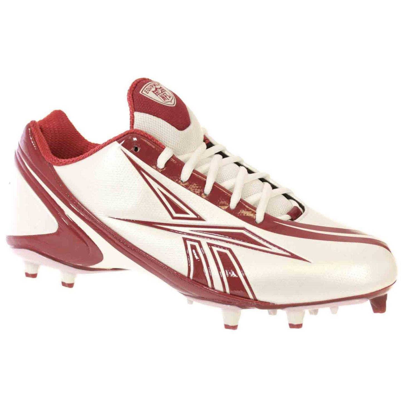 REEBOK MEN'S NFL BURNER SPEED LOW M3 WHITE MAROON MOLDED FOOTBALL CLEATS 10 M