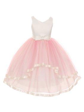 little girls pink v-neck satin bow 3 layer tulle flower girl dress 2-6