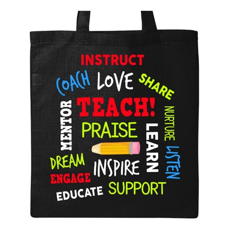 Teacher Word Salad with Pencil Tote Bag Black One Size