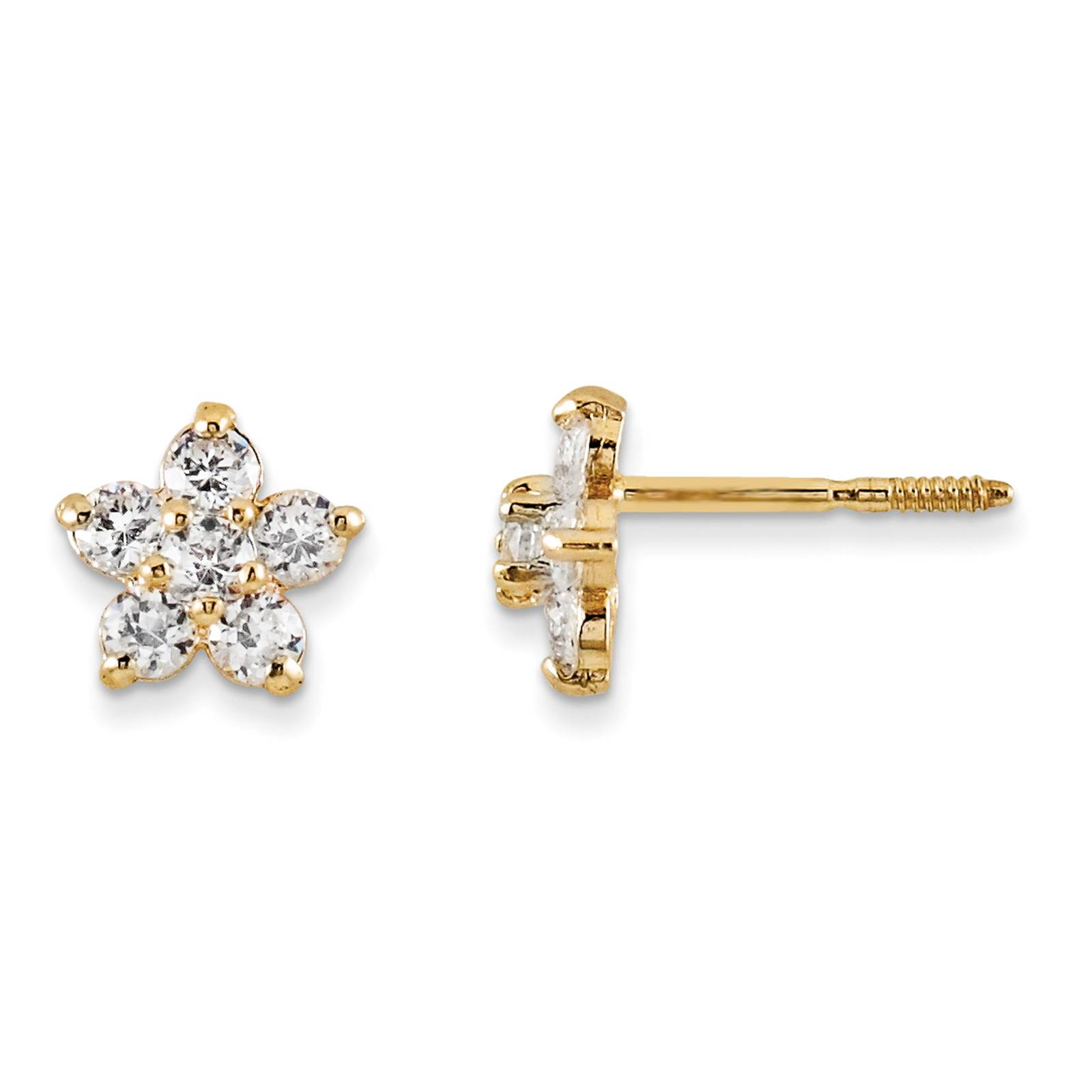 Madi K Kids 14k Yellow Gold Polished Marquise Cut CZ Star Post Earrings