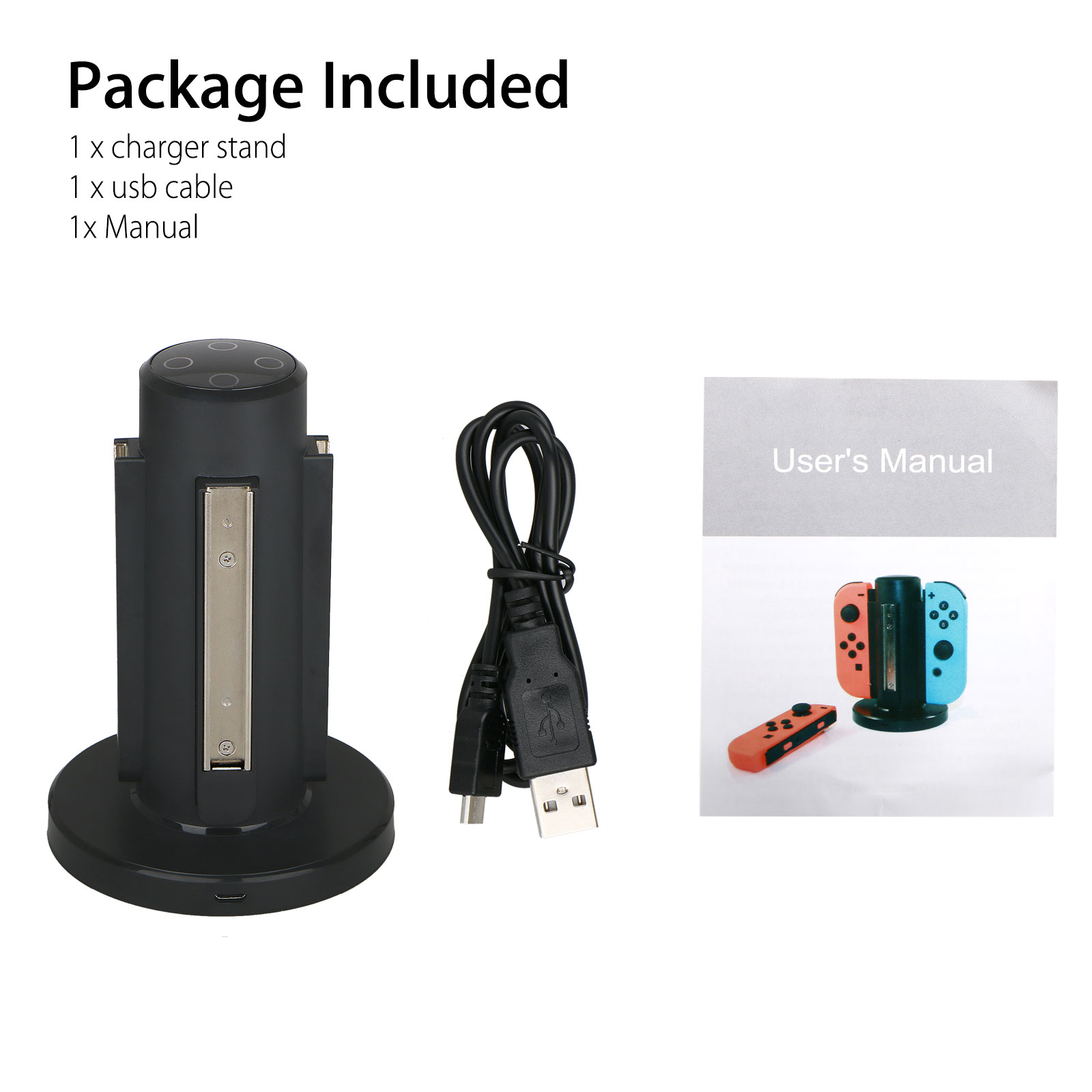 4in1 Charger Dock Charging Station Stand with LED Indicators for Nintendo Switch Joy-Con Controller